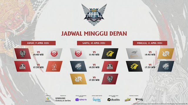 Jadwal MPL ID Season 7 Minggu Depan 09 April 2021