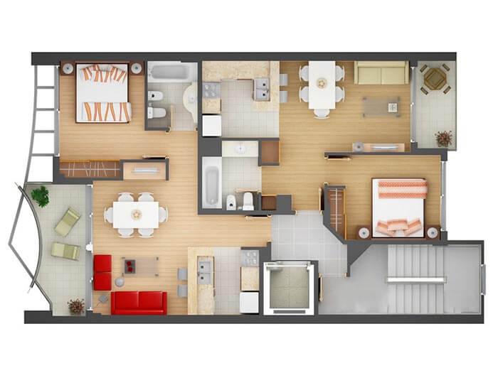 2+1 dubleks villa planı