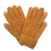 gold winter gloves with stitched texture