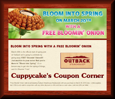 graphic relating to Outback Coupons $10 Off Printable called Cuppycakes Coupon Corner: Cost-free Bloomin Onion at Outback