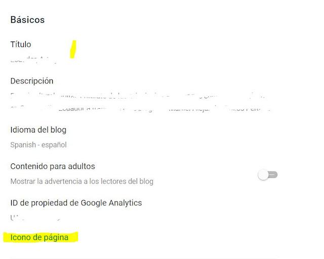Identifica la primera sección que se llama BÁSICOS Al final de esa sección debería aparecer un texto en azul verdoso que indica: ICONO DE PÁGINA, da clic aquí.