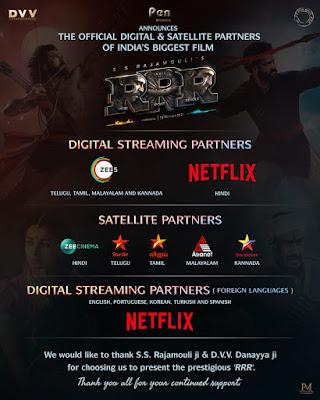 RRR Movie Digital Streaming and Satellite Partners