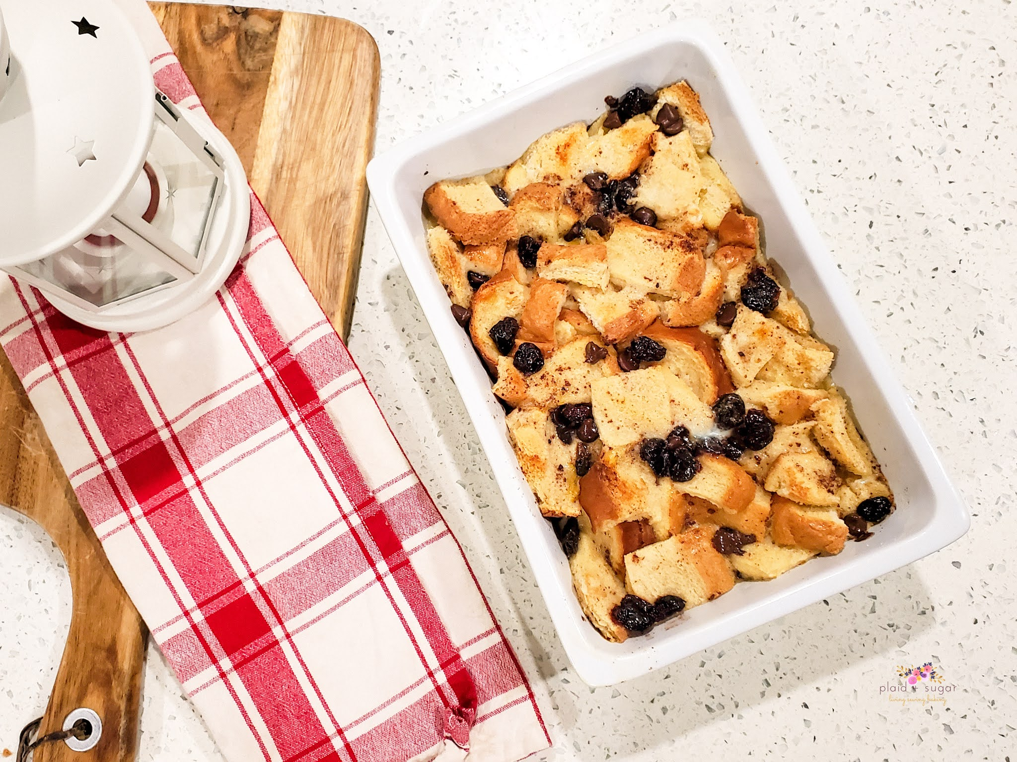 Easy and Quick Bread Pudding Recipe by Plaid and SUgar
