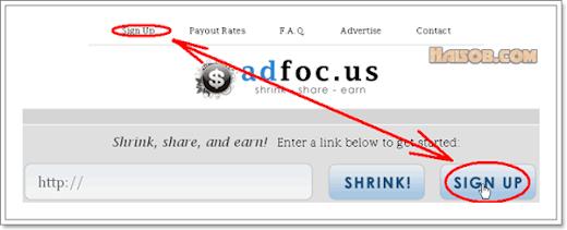 Langkah ke 2 cara daftar di Adfoc.us