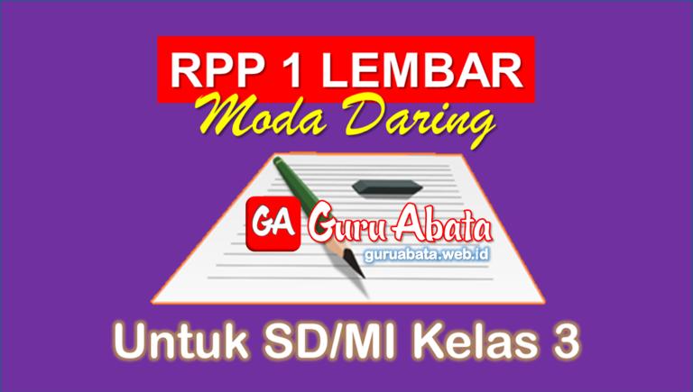 RPP 1 Lembar Daring Kelas 3 SD/MI Semester 1 Dan 2 Revisi Terbaru