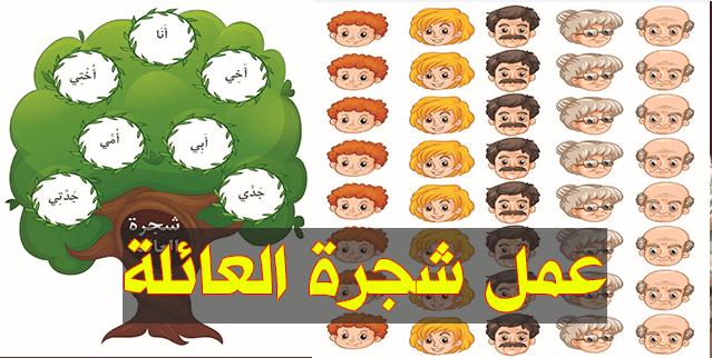 أوراق عمل شجرة العائلة الخاصة بمشروع القسم