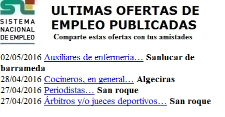 Algeciras, San Roque, Sanlúcar de Barrameda, Cádiz. Lanzadera de Empleo Virtual. Sistema Nacional de Empleo