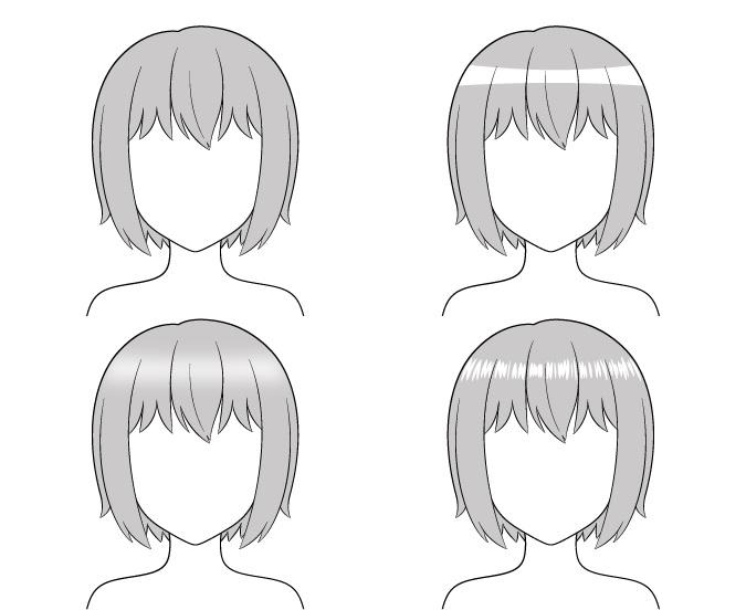 Rambut anime menyoroti contoh menggambar