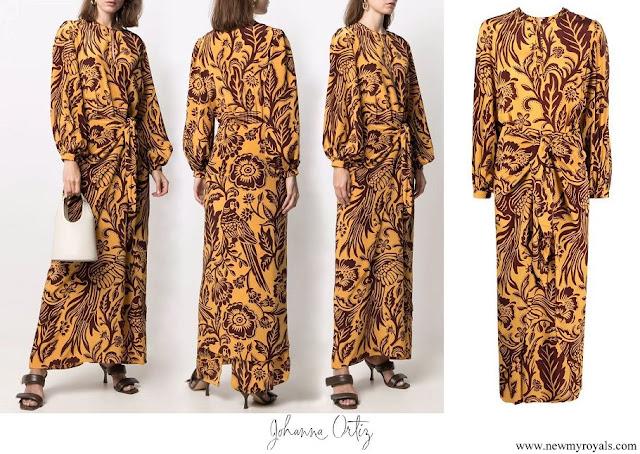 Queen Maxima wore Johanna Ortiz botanical print silk maxi dress