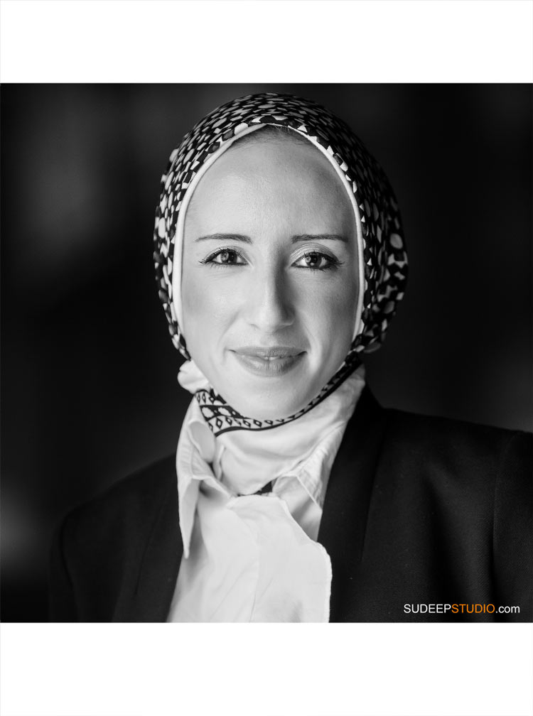 Professional Headshot for Middle Eastern Lady with Hijab SudeepStudio.com Ann Arbor Portrait Photographer