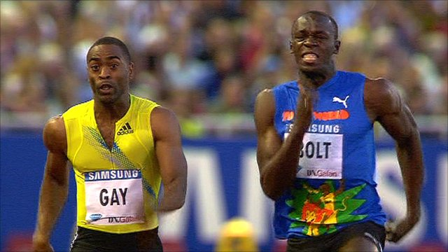 Tyson Gay y Usain Bolt