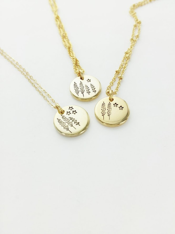 Personalized Mama in Nature Hand Stamped Necklace