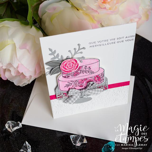 Carte de mariage avec le lot Joli gâteau Stampin' Up!
