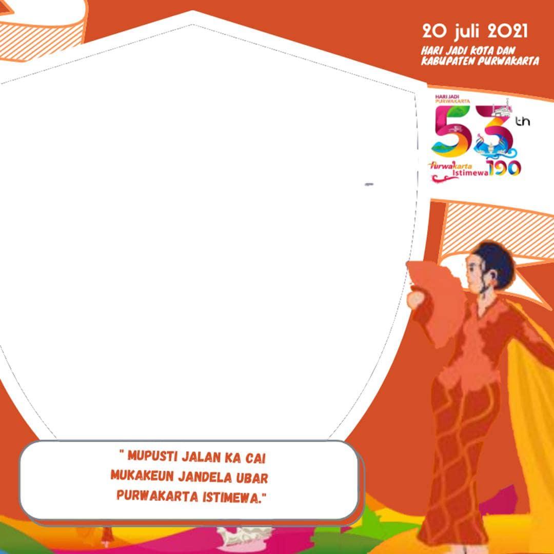 Template Background Bingkai Twibbon HUT Kota Purwakarta ke-190 dan Kabupaten Purwakarta ke-53 Tahun 2021