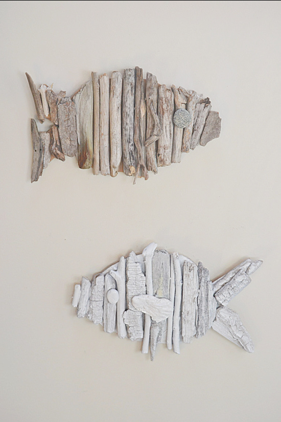 white and natural driftwood fish