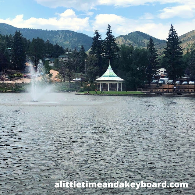Calm at picturesque Green Mountain Falls Lake nestled in the mountains of Colorado.