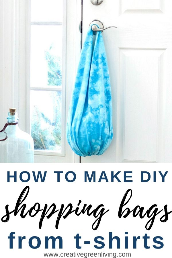 Learn how to make an easy no sew t-shirt bag in just a few minutes with this DIY tutorial. Upcycle old shirts into projects like shopping bags using an easy to follow pattern. Making reusable grocery bags is the best idea for using old shirts you aren't wearing anyway. #reusableshoppingbags #tshirtbag #nosewbag