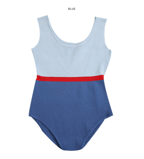 Tri-Tone Color-Blocked Bodysuit