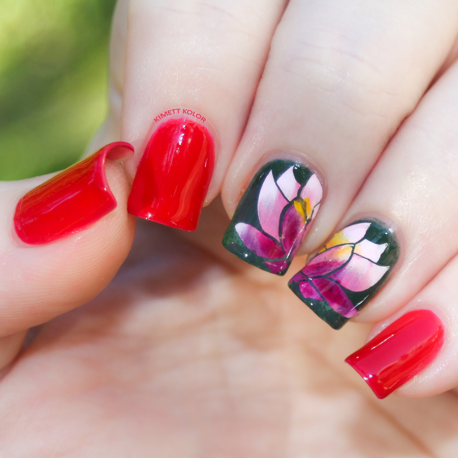 Ruby and Water Lily July Nail Art by KimettKolor