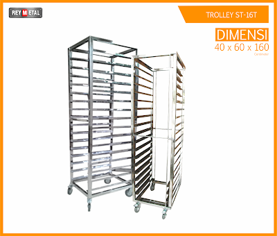 jual Trolley Stainless 16 rak