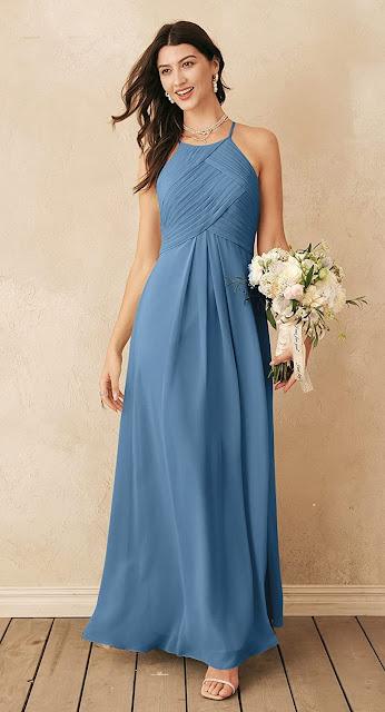 Powder Blue Chiffon Bridesmaid Dresses