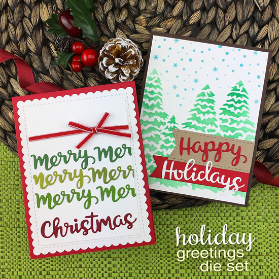 Christmas word cards by Jennifer Jackson | Holiday Greetings Die Set, Evergreens Stencil and Petite Snow Stencil by Newton's Nook Designs  #newtonsnook #handmade
