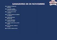 GANADORES LA PROMO REGALONA GLORIA 4 DE NOVIEMBRE