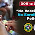 """No Vaccination, No Enrollment"" Policy"