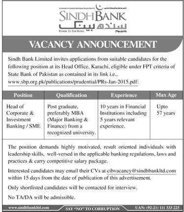 Advertisement for Sindh Bank Jobs