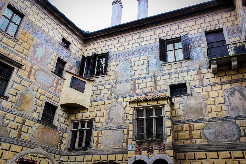 Cesky Krumlov 4th Courtyard Painted Castle Walls