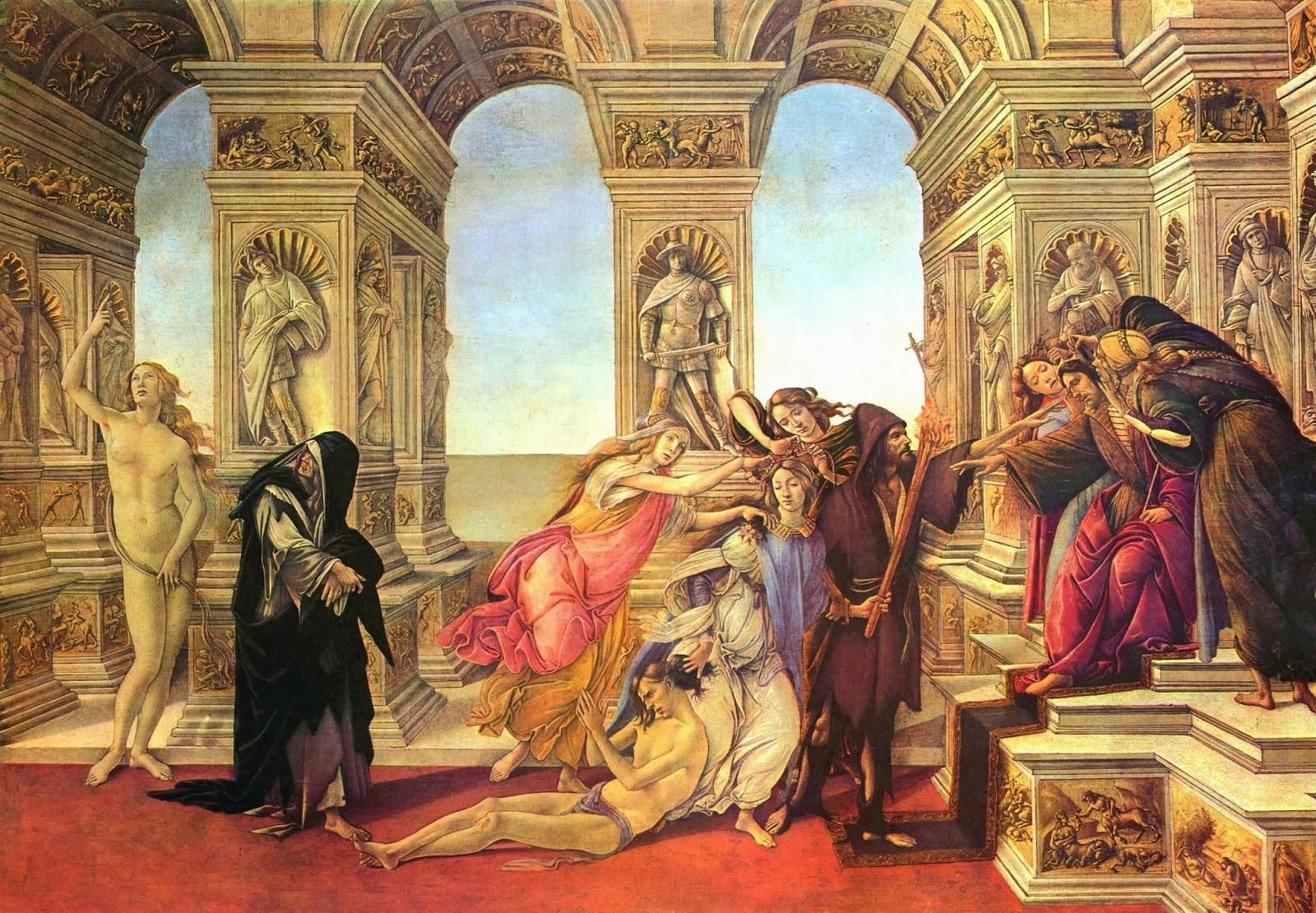 La Calumnia. Sandro Botticelli. 1495, Florencia, Galería Uffizi.
