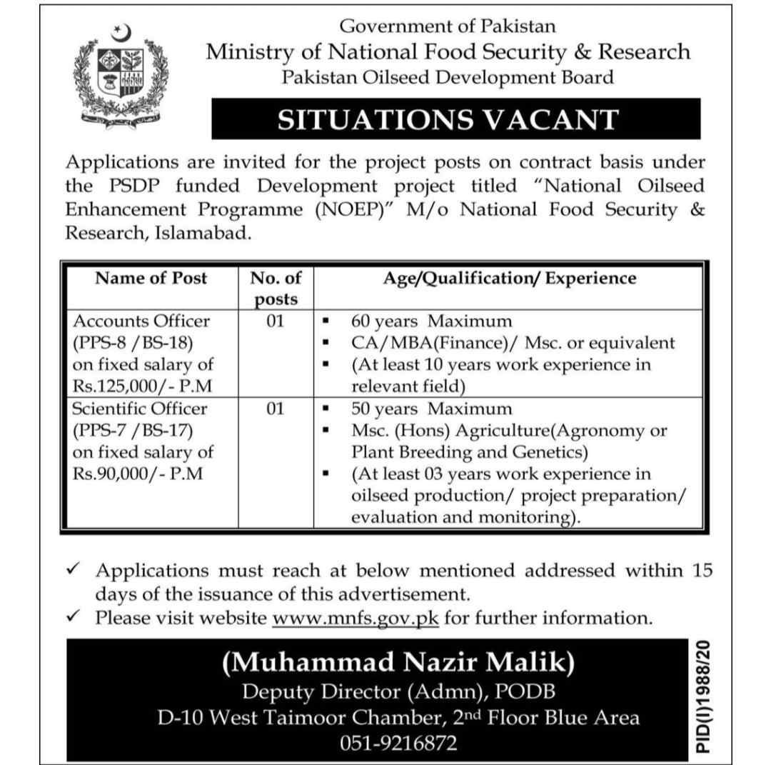 Latest Ministry of National Food Security & Research MNFSR National OilSeed Enhancement Programme Jobs 2020