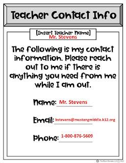 Teacher Contact Info Form