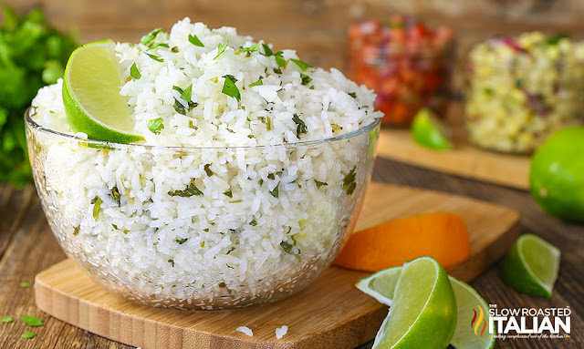 Chipotle Rice recipe copycat cilantro lime rice in a clear bowl