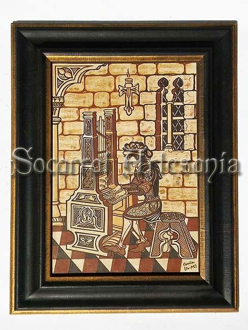 Enorme socarrat con la figura de un pianista-organista tocando en un ambiente medieval. Original de Camateu. Socarrat Artesanía