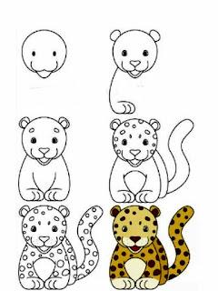 رسم نمر سهل للاطفال بالخطوات