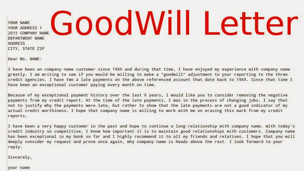 Goodwill letter samples business letters for Template letters to creditors