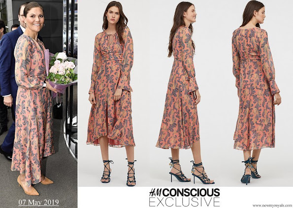 Crown Princess Victoria wore H&M print silk dress from Conscious Exclusive