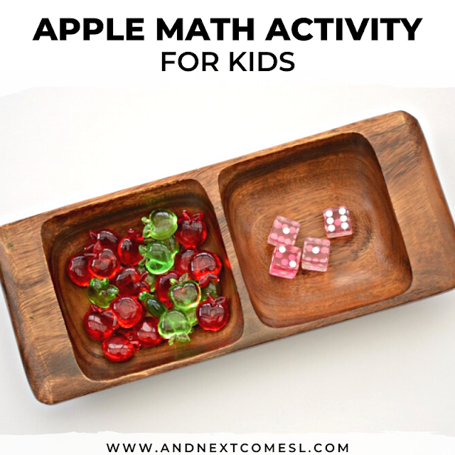 Apple math activity tray