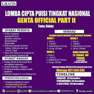LOMBA CIPTA PUISI TINGKAT NASIONAL GENTA OFFICIAL PART II DEADLINE 30 NOVEMBER 2020
