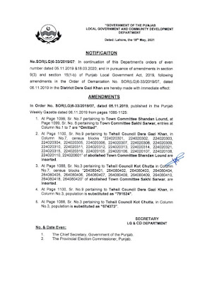 DEMARCATION OF TEHSIL COUNCILS AND ABOLISHED TOWN COMMITTEES OF DISTRICT DERA GHAZI KHAN