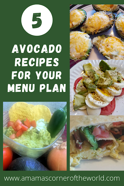 Pinaable Image with photos of recipes using avocado as an ingredient