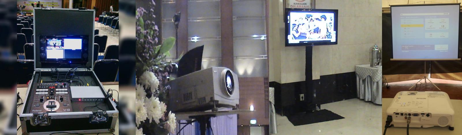 Sewa Multimedia, screen lcd projector, proyektor Epson EB-X100, EB-X200, EB-X350, 2.000 lumen, 2.600, 3.000, 3.200, 5.000 ansi, 10.000 lumen, layar Infocus, tripod, 1 meter, 2x2, 3x4, Handycam, camcorder, led tv 65 inch, plasma tv 42, 50, 60 inch, tv matador, tv lantai, tv monitor, standing bracket tv, kabel vga, kabel hdmi, kabel rca, kabel bnc, kabel sdi, Edirol Rolland V8, switcher, mixer video 4 input, 8 channel, splitter.