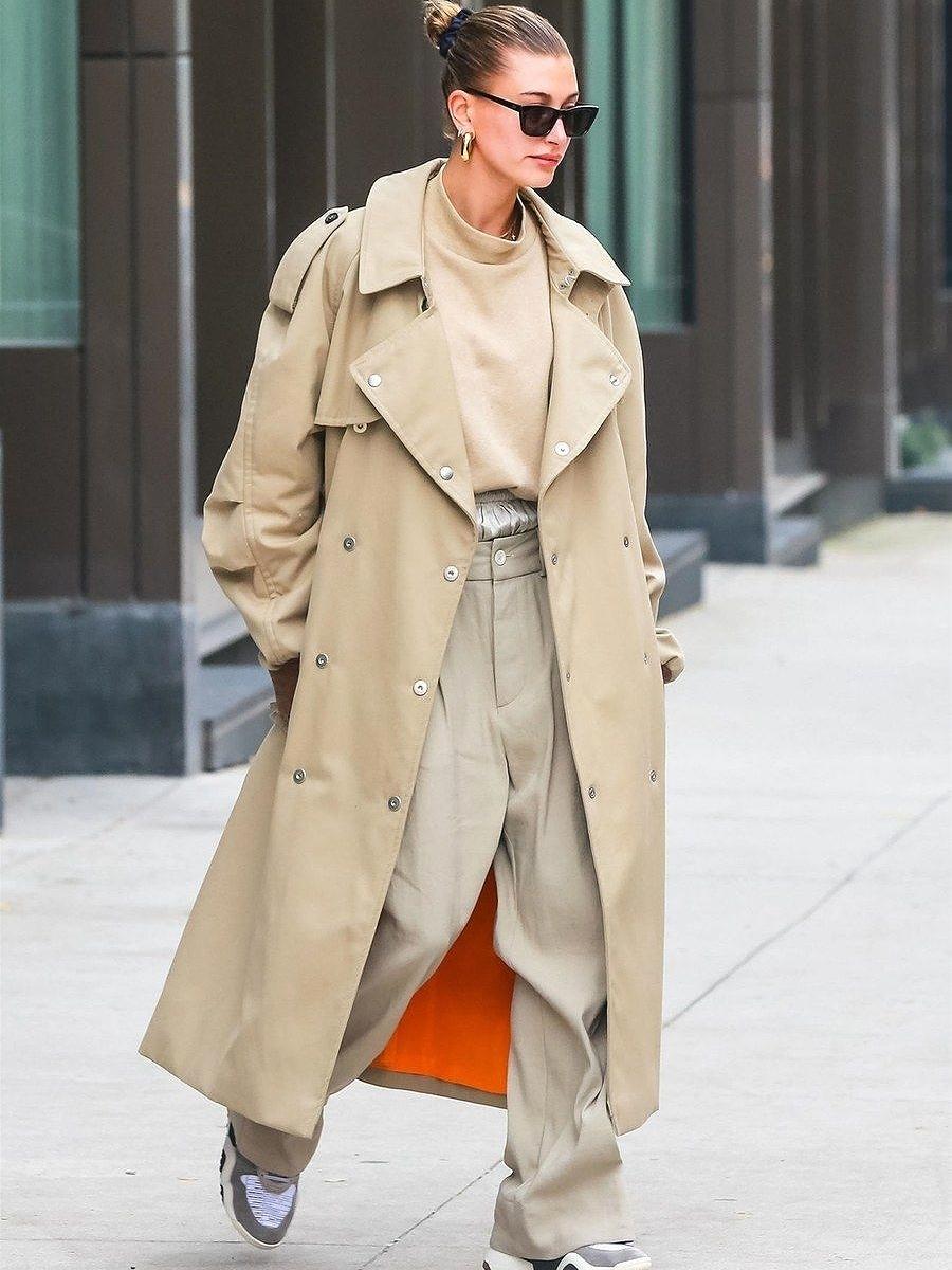 Hailey Baldwin Buttoned Long Trench Coat