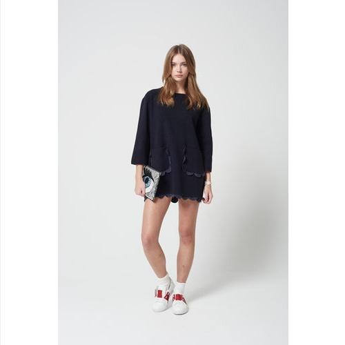 Scalloped Hem Three-Quarter Sleeved Shirt Dress