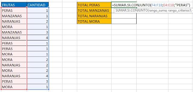 Como usar la función SUMAR.SI.CONJUNTO en Microsoft Excel