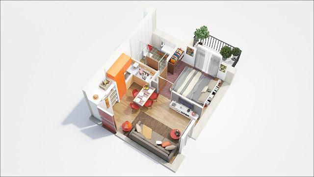 Planta de casa pequena com um quarto