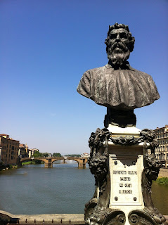 A portrait bust of Cellini by Raffaello Romanelli  can be found on Florence's Ponte Vecchio