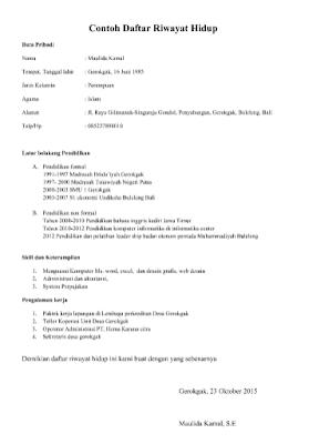 Contoh Daftar Riwayat Hidup Terbaru docs