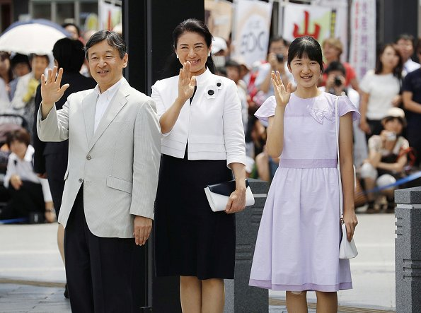 Crown Prince Naruhito, his wife Crown Princess Masako and their daughter Princess Aiko  arrived at JR Matsumoto Station in Nagano Prefecture